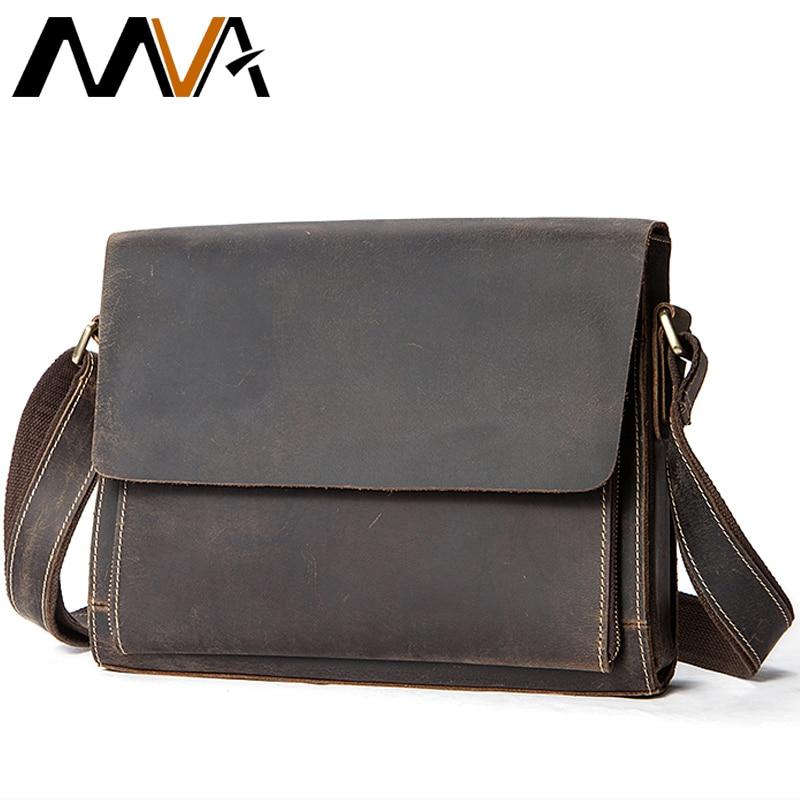 MVA Men's Crossbody Bag Men Messenger Bags Vintage Bag Mens Messenger Bag Men Leather Crazy Horse Genuine Leather Handbag