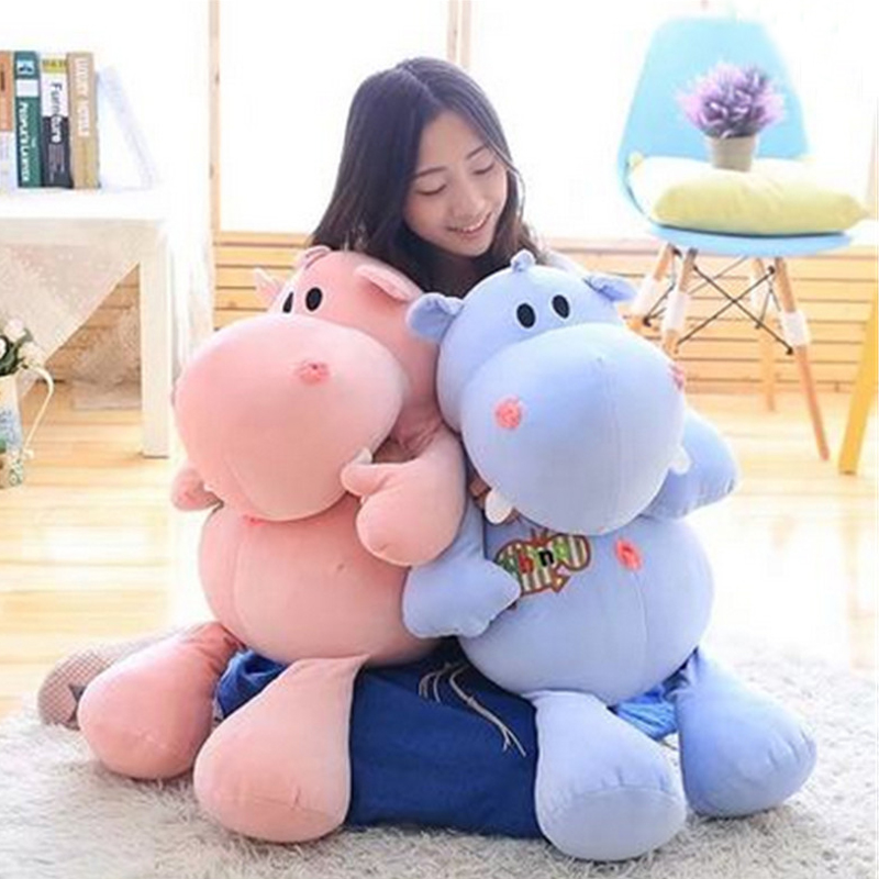 Fancytrader Huge 31'' Lovely Soft Animal Hippo Plush Toy Giant 80cm Stuffed Cartoon Hippopotamus Doll Pillow Kids Gift huge 140cm cartoon pink hippo plush toy soft throw pillow birthday gift b2800