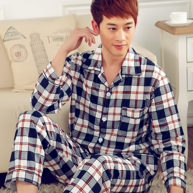 Men's autumn and winter long sleeve pajamas suits long-sleeved cardigan pajamas M