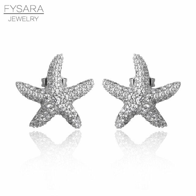 Fysara Elegant Silver Starfish Stud Earrings For Women Cubic Zirconia Crystal Love Ocean Star