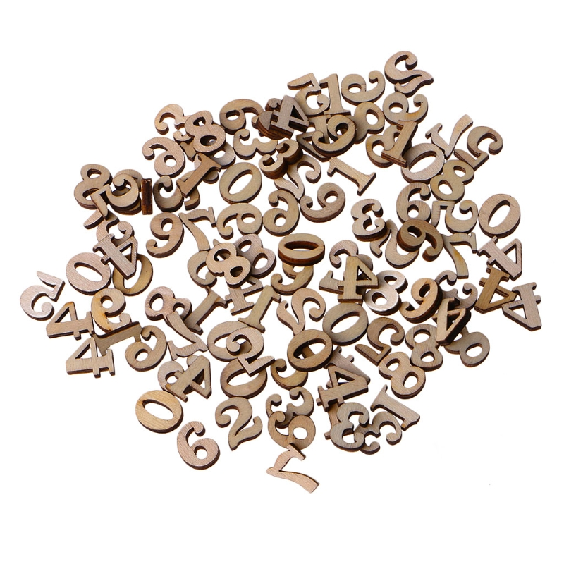 100Pcs Wooden 0-9 Numbers Embellishments 15mm Scrapbooking Card Making Craft DIY