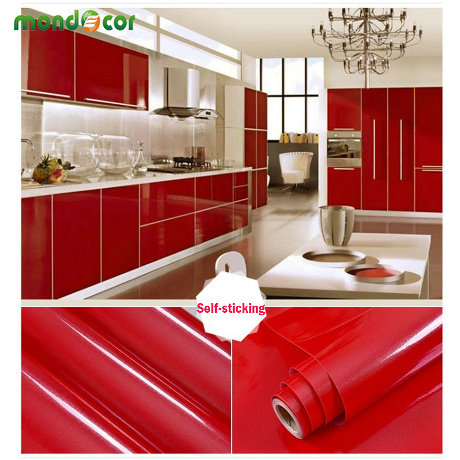 Pure Color Self Adhesive Wallpaper For Wardrobe Renovation PVC Oil-proof Waterproof Kitchen Contact Paper Removable Wall Decal