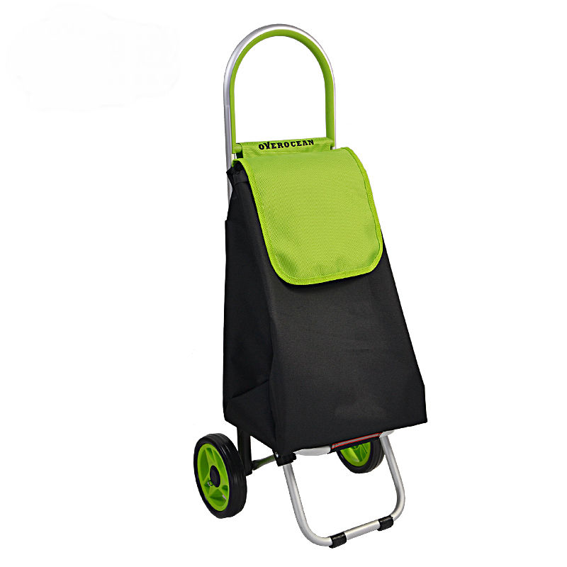 Portable Shopping Cart With Back Bag Foldable Shopping Trolley Fixed Rod Luggage Cart With 600D Oxford Cloth Shopping Bag