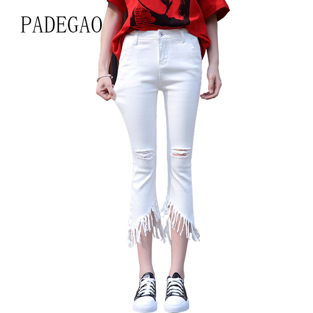 71d1d22b334 White Denim Woman Jeans Femme Skinny Capris For Women Pants Womens Female  Boyfriends Mujer Plus Size Large Push Up Bell Bottom