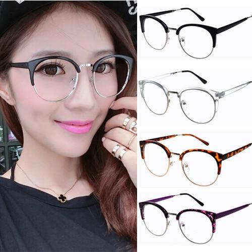 Semi Rim Half Frame Women Vintage Eyeglasses Frame