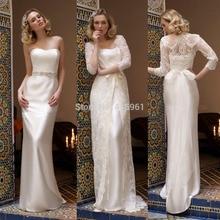 Vestido De Casamento 2015 Ivory Strapless Lace Bridal Wedding Dresses with Jacket Sash Coat Floor Length W3451