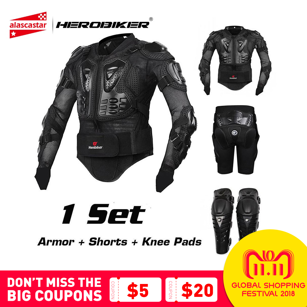 HEROBIKER Motorcycle Protection Motorcycle Armor Moto Protective Gear Motocross Armor Racing Full Body Protector Jacket Knee Pad herobiker motorcycle jackets men motorcycle armor protection body protective gear motocross motorbike jacket with neck protector