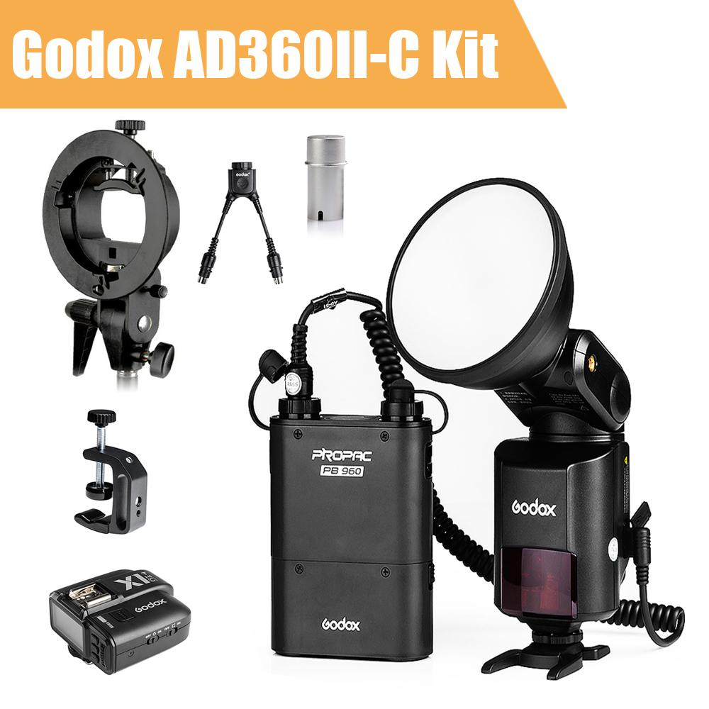 Godox Witstro AD360 II AD360II-C TTL  Flash Speedlite On/Off-Camera +Godox X1 Wireless Trigger  for Canon DSLR + Accessories Kit 2pcs godox cells ii 1 8000s wireless transceiver trigger kit for canon eos camera speedlite and studio flashes