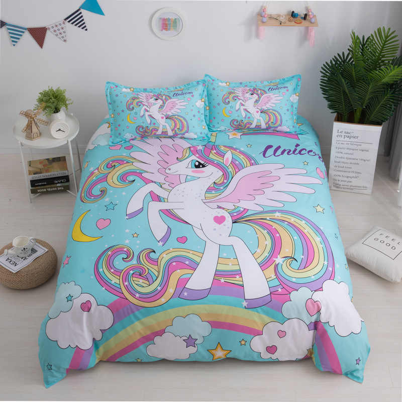 Bedding Sets King Double Size Cartoon Unicorn Pint Single Double King Bed Kids Bedding Kit Duvet Cover with Pillowcase Set