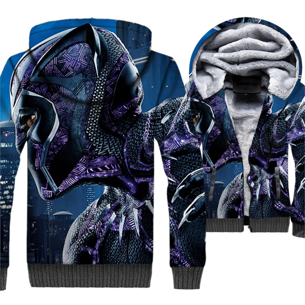 New 2019 Winter Warm 3D Jackets Black Panther Printed Men 3D Hoodies Sweatshirts Thick Fleece Short Style Men's Brand Hooded