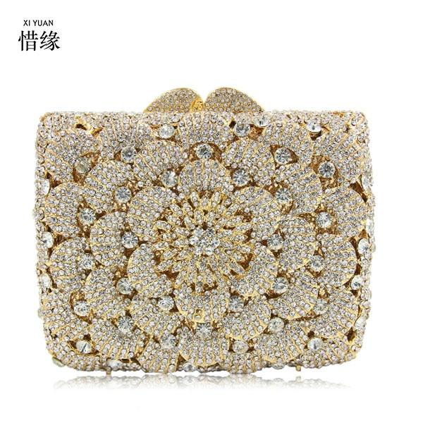 XIYUAN BRAN Multi color Evening Bag Newest Holiday Party bag Big crystal Diamond Women Clutch Bag Ladies Handbag blue/gold/black