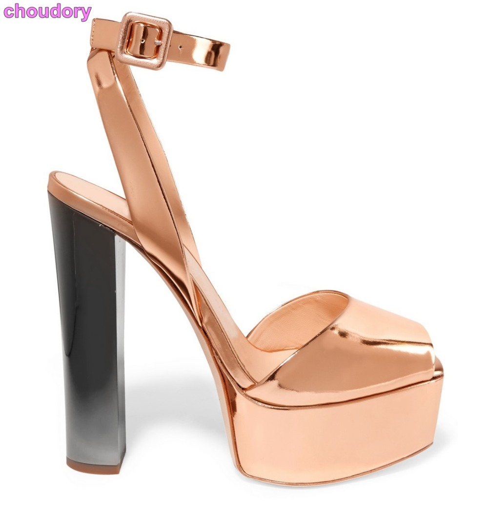 Newest Rose Gold Patent Leather Dress High Heel Sandals Chunky Heel Ankle Buckle Strap Dress Shoes High Platform Champagne Shoes shinny patent leather high platform stiletto buckle strap women sandals party dress nude black lady pumps high heel dress shoes