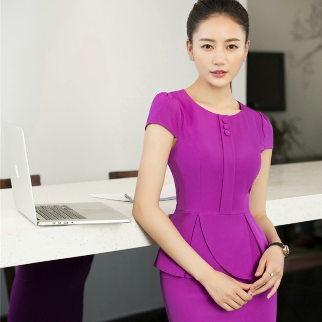 996fbedb340 Novelty Purple Short Sleeve Formal OL Styles Work Suits With 2 Piece Tops  And Skirt Ladies Office Blazers Outfits Plus Size 3XL
