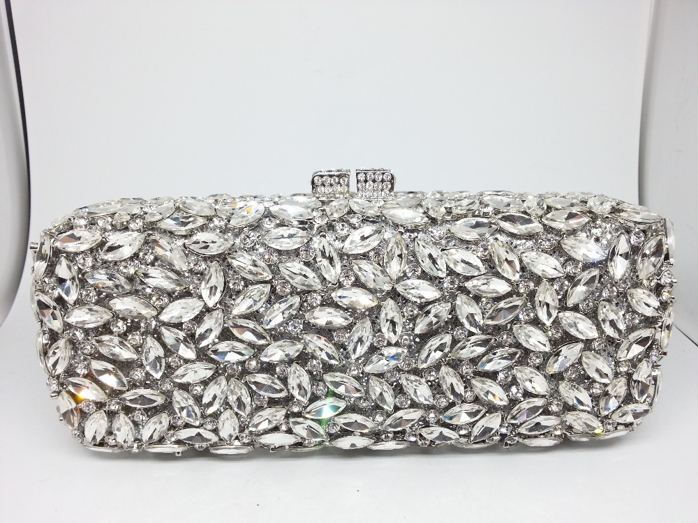 Evening Silver Crystal Bags Bridesmaids
