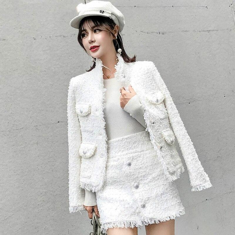 Piste Designer Blanc Laine 2 Pièces Ensemble Femmes Unique Poitrine Perles Perles Veste Manteau + Gland Jupe Courte D'hiver Tweed costume