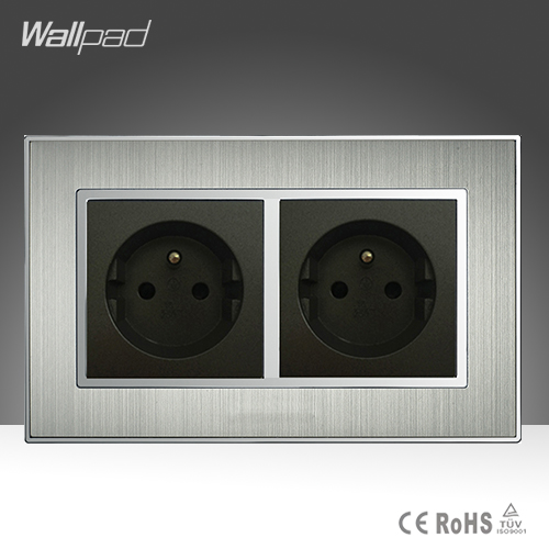 CE Wallpad AC 110-250V 146 Size Double French 16A Socket Silver Satin Metal EU French Standard Electric Wall Socket Power Supply british mk british unit power supply socket metal 13a power outlet british standard unit socket