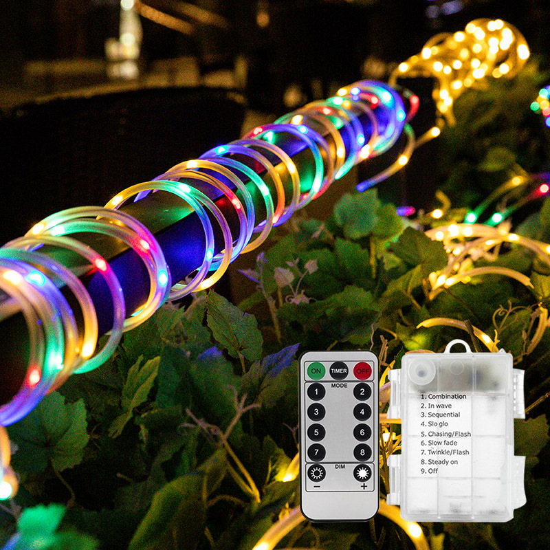 Led Pipe Light String Home Garden Decorations 8 Function Battery Box Waterproof Outdoors Courtyard Colorful Lights