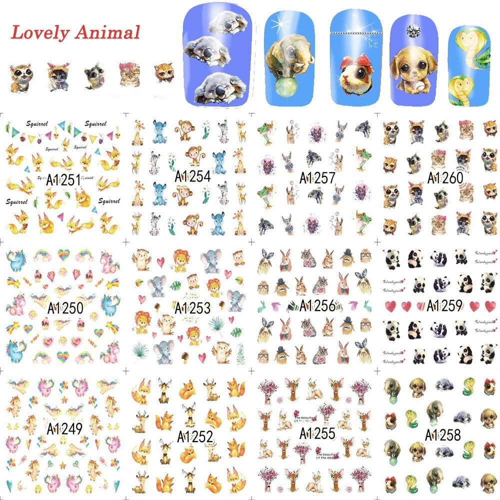 12 designs/lot Nagel Sticker Wasser Transfer Nette Liebe Tier ...