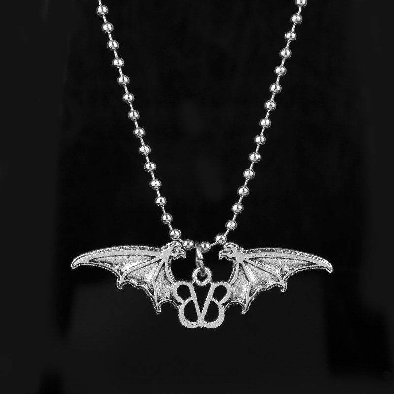 New Design Black Veil Brides Rock Music BVB Logo With Bat Wings Pendants Necklaces Women Man Beads Chain Necklace
