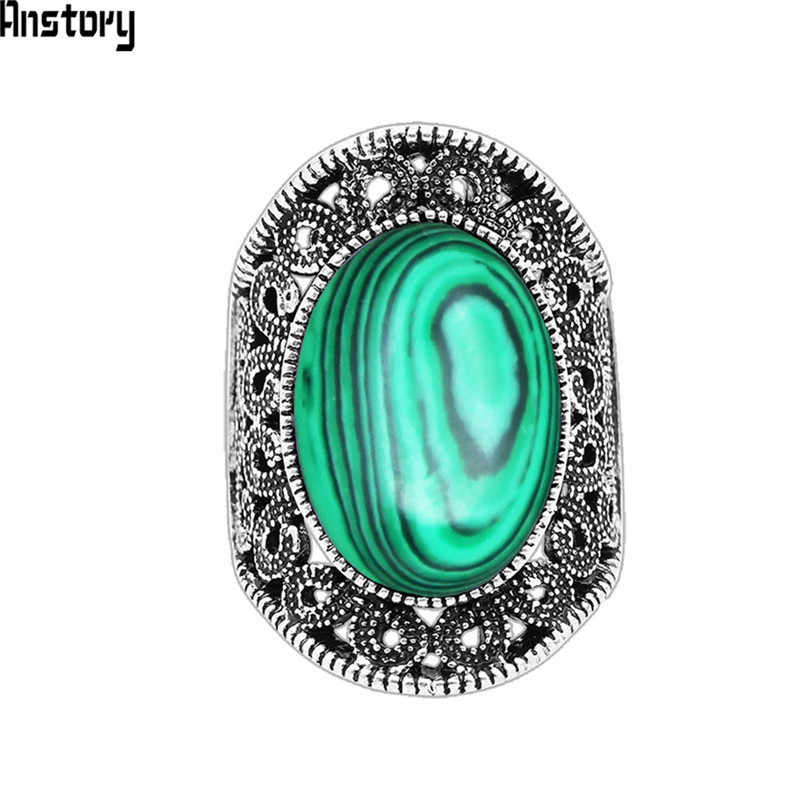 Oval Malchite Rings For Women Flower Desing Vintage Look Antique Silver Plated Fashion Jewelry TR666
