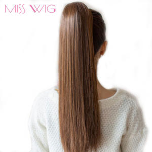 Drawstring Ponytail Extension-Style Clip-In Straight Long Synthetic Miss-Wig 12-Colors