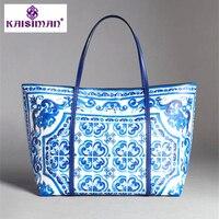 Роскошная брендовая синяя и белая фарфоровая Сумка тоут из натуральной кожи, женская сумка для покупок, этническая Сумочка, кошелек, женски