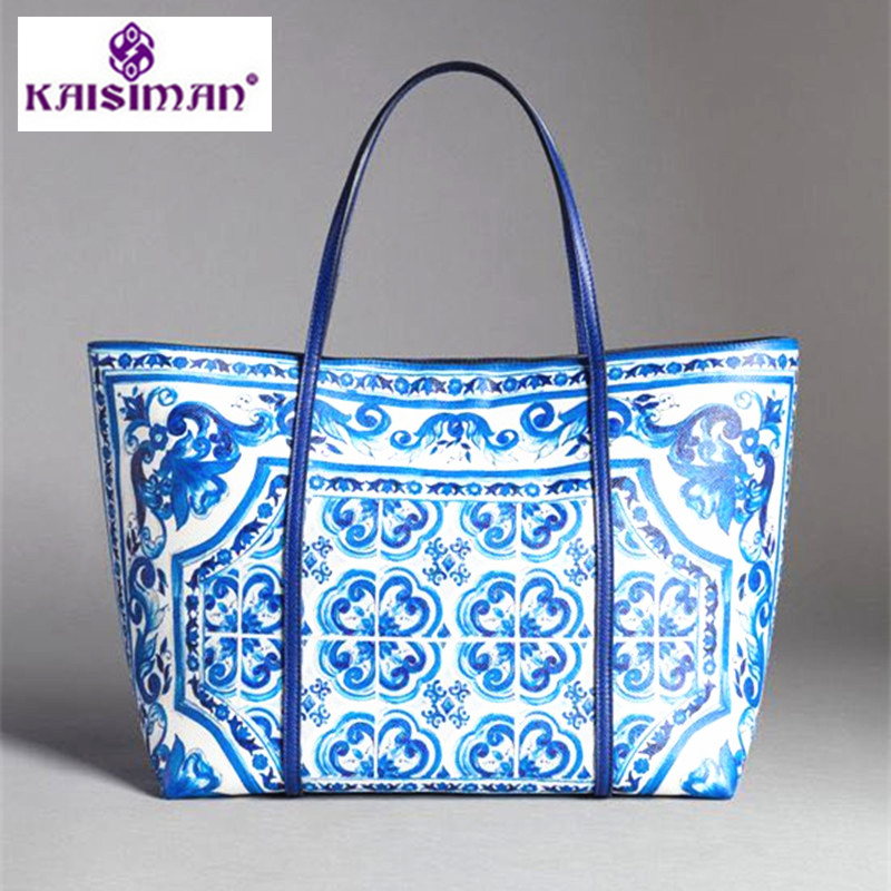 Luxury Brand Blue and White Porcelain Print Tote Bags Genuine Leather Women Shopping Bag Ethnic Handbag Purse Lady Shoulder Bags