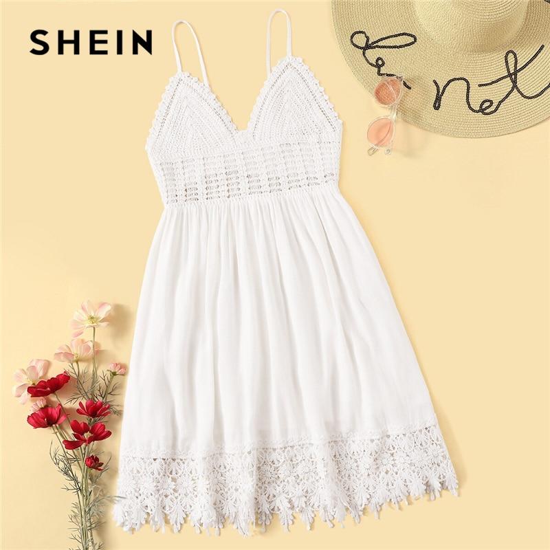 Шеин Boho имбирь узел ремешок с цветочным рисунком и низким вырезом на спине Обёрточная бумага летнее платье Для женщин короткие с высокой та...