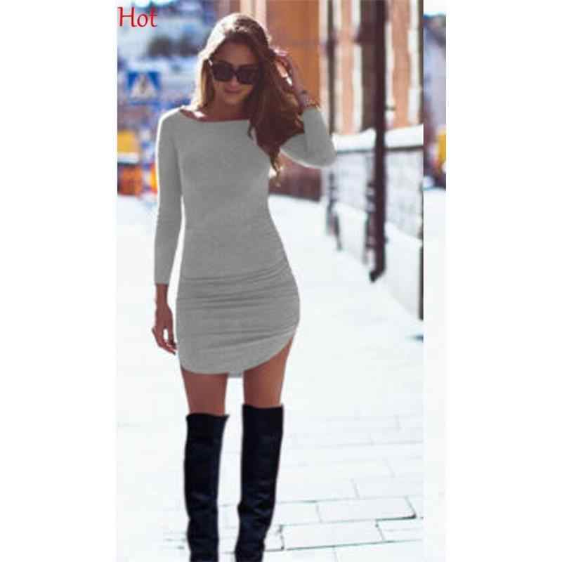 b00ab747ed9a Hot Slim Bodycon Dresses Women Spring T-shirt Autumn Cotton Dress Grey  Black Long Sleeve