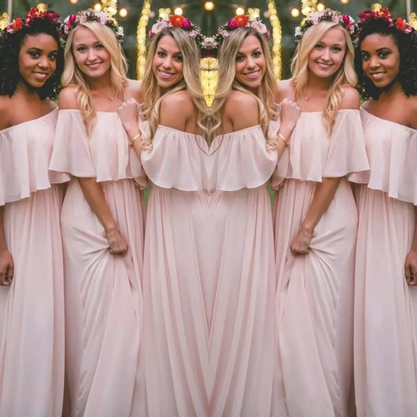 f821b730693 New Bohemian Bridesmaid Dresses 2018 Long Blushing Pink Chiffon Off  Shoulder Beach Wedding Maid of Honor Party Gowns Custom Make