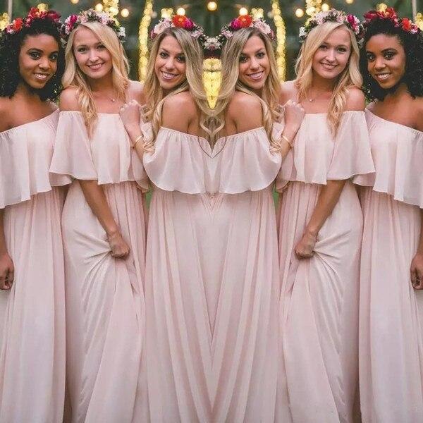 Nouvelles robes de demoiselle d'honneur bohème 2018 longue rose claire en mousseline de soie hors épaule plage mariage demoiselle d'honneur robes de fête sur mesure