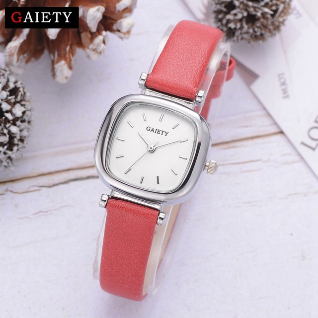 Gaiety Exquisite Red Leather Strap Watches Women Fashion Luxury Square Simple Di