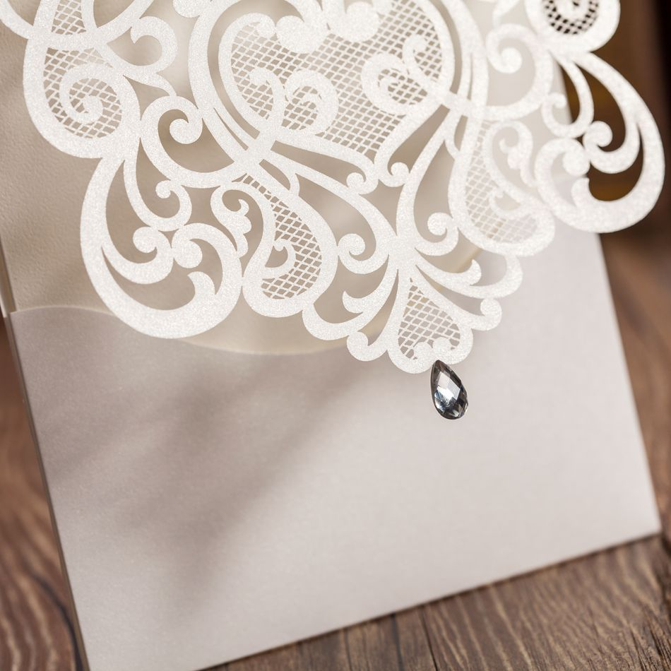Luxury White Cut Out Paper Lace Wedding Invitations Cardswith Rhinestones Free Shippingin Cards From Home Garden On Aliexpress: Wedding Invitations With Rhinestones At Reisefeber.org