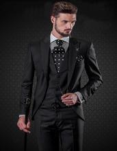 Fashionable One Button Black Groom Tuxedos Groomsmen Men's Wedding Prom Suits Bridegroom (Jacket+Pants+Vest+Tie) K:795