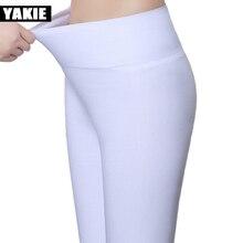 Mallas ajustadas de cintura alta para mujer, Leggings femeninos de talla grande 5XL, 18 colores, Color caramelo, elásticos, para oficina, 2017