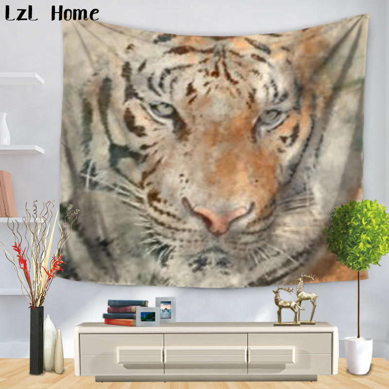 LzL Home African Animales Pattern Colored Tiger Wolf Tapestry Polyester Spiritual Wall Hanging Beach Picnic Yoga Rug Livingroom