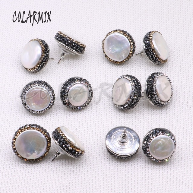 10 ペアナチュラル真珠 18 ミリメートルスタッドピアスフリーフォームパールビーズビーズ手作りジュエリー女性宝石ジュエリーのための女性 3941