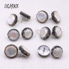 10 pares de pérola natural 18mm brincos de parafuso prisioneiro livre forma contas de pérola contas artesanais jóias femininas jóias gem para mulher 3941