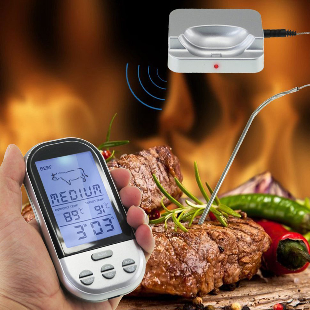Digital BBQ Thermometer Wireless Kitchen Oven Food Cooking Grill Smoker Meat Temperature Meter Probe Timer Temperature Alarm цена