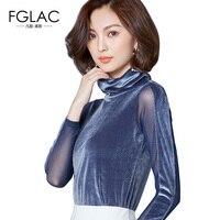 FGLAC Women T Shirt Fashion Casual Long Sleeved Turtleneck Velvet Women Tops Elegant Slim Autumn Lady