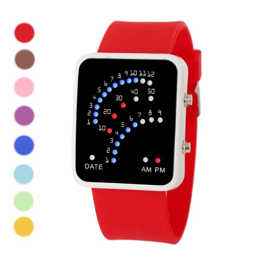 Fashion LED Digital Watch Sport Watch Women Mens Futuristic Japanese Style Multicolor LED Sport Wrist Watch JY11