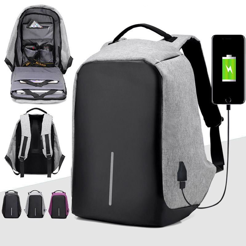 Kisstyle USB Charging Fashion Backpack Men 15inch Laptop Backpacks Casual Travel School Bags Bagpacks