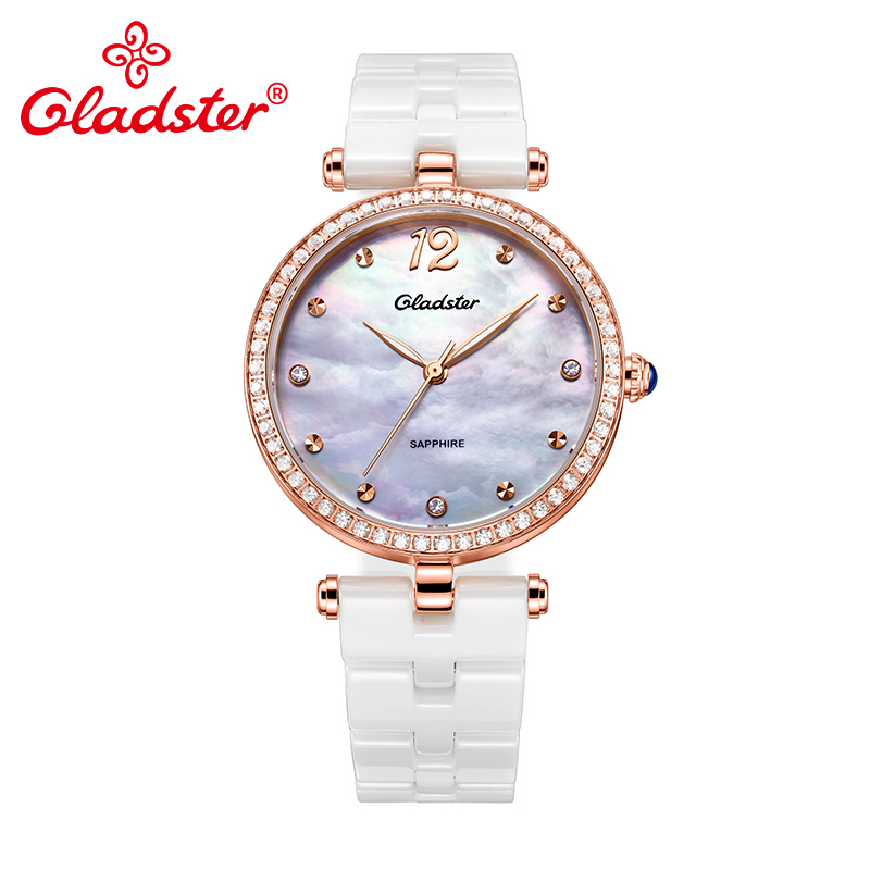 Gladster 2018 Ladies Watches Brand Quartz Watch Sapphire Glass Ceramic Clasp Women Shell Dial Diamond Case Jewelry Female Clock amica luxury crystal diamond blue shell dial womens quartz watch ladies watch