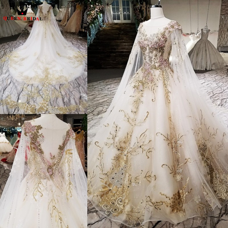 Ball Gown Cape Appliques Lace Beaded Luxury Formal Women Evening Dresses 100 Real Evening Gown