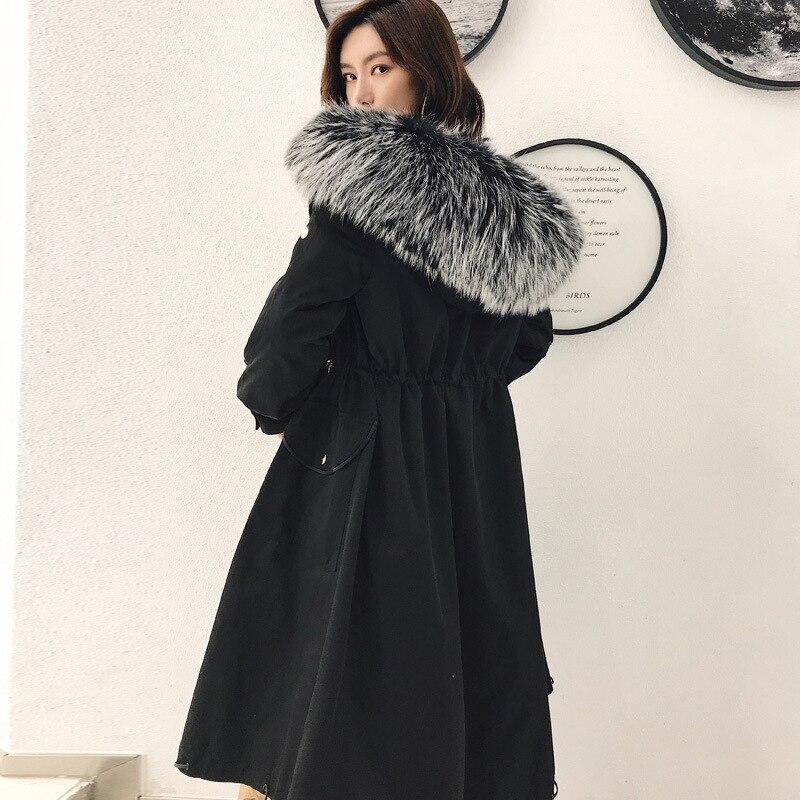 Chien Fourrure noir vert Vison Laveur Manteau De Femmes Kaki Style Tout Nouveau Raton Long Peau Luxe Veste Real Chaud Épais Femme Col Tw5FqR1