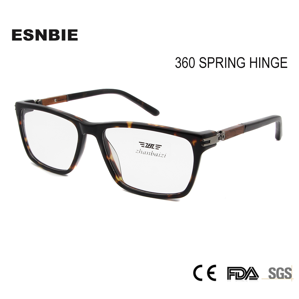 ESNBIE Holzglasrahmen Damen Brillenrahmen 360 Spring Hinge Herren Optische Brillenrahmen Quadratische Brillen Vintage Brillen