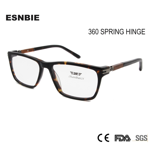 Esnbie Wood Glass Frame Womens Eyeglasses Frame 360 Spring Hinge