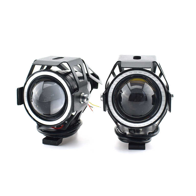 Motorcycle LED Headlight Spotlight 3000LM 125W 12V U7 LED Driving Moto Fog Angel Work Spot Head Light Motorbike Auxiliary Lamp