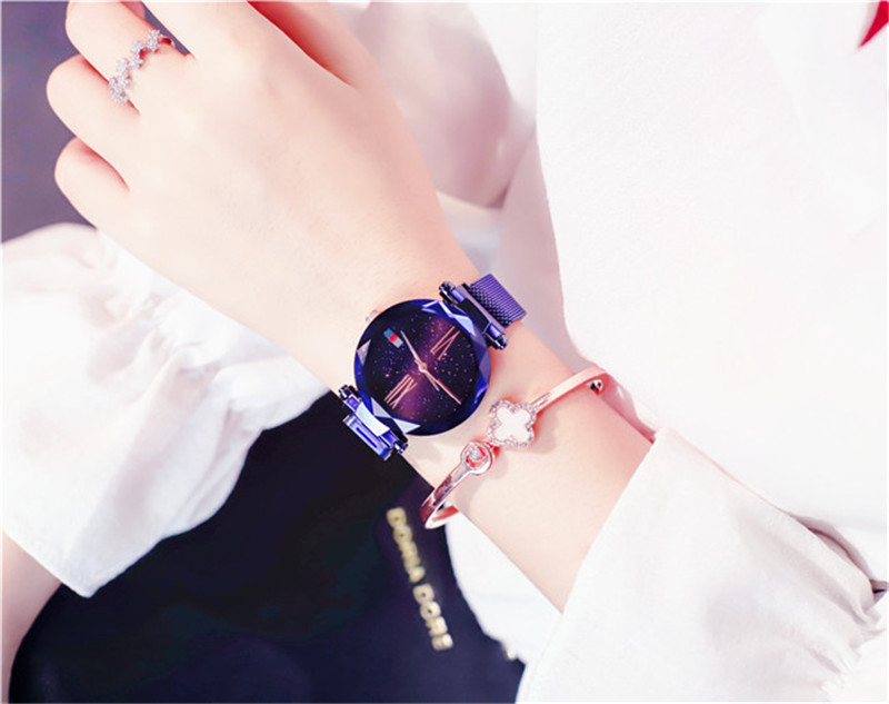 Luxury Rose Gold Women Watches Minimalism Starry sky Magnet Wrist Watches For Ladies Fashion Casual Female Wristwatch Waterproof (10)