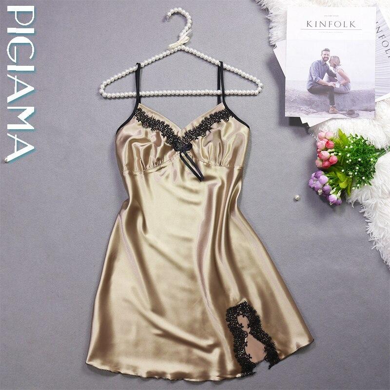 PIGIAMA Women Nightgowns 13 Colors Silk Stain Home Dress Pijamas V-neck Straps Pyjamas Women Bathrobe Nightgowns & Sleepshirts